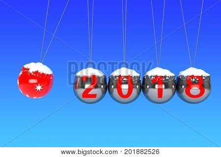 New Year concept. Spheres of Newton with 2018 on a blue background. 3d Rendering
