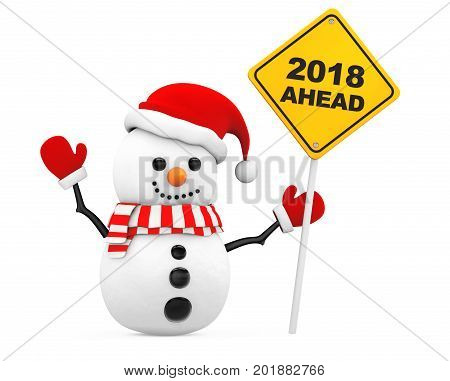 Snowman with 2018 New Year Ahead Sign on a white background. 3d Rendering