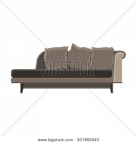 Vector modern sofa flat icon isolated. Furniture luxury front view elegant. Background colorful comfort decor decorate decoration decorative elegance. Elegant ergonomic floor home trendy interior