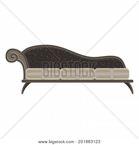 Vector classic sofa icon front view isolated. Luxury furniture design flat retro style antique apartment classical color comfort couch decor fashion. Elegance floor home modern texture old wooden.