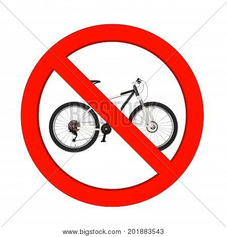 Black and White Mountain Bike in Prohibition Red Circle on a white background. 3d Rendering
