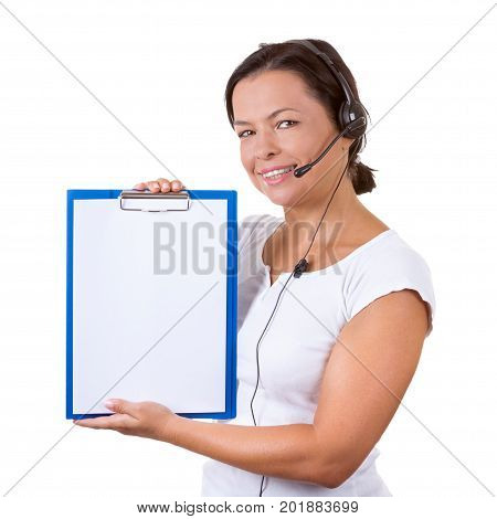 Happy Woman with Headset Working at Callcenter Hold Clipboard ith Blank Paper for Yours Signs and Design on a white background
