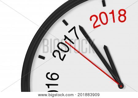The Year 2018 is Approaching. 2018 Sign with a Clock on a white background. 3d Rendering