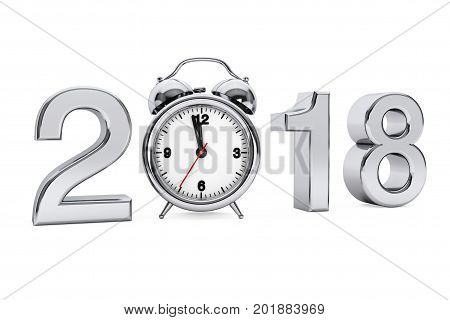 New Year 2018 concept. 2018 Steel Sign with Alarm Clock on a white background. 3d Rendering