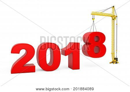 Build the Future Concept. Tower Crane with 2018 Year Sign on a white background. 3d Rendering