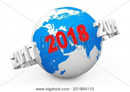 New Year Concept. 3d number 2018 around Earth Globe on a white background. 3d Rendering