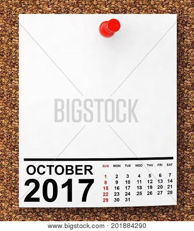 Calendar October 2017 on blank note paper with free space for your text.3d Rendering