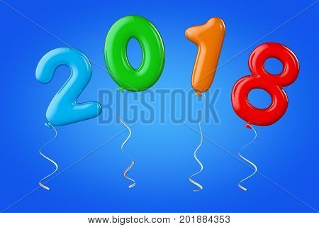 Multicolour Balloons as 2018 New Year Sign on a blue background. 3d Rendering