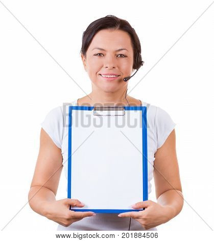 Happy Woman with Headset Working at Callcenter Hold Clipboard with Blank Paper for Yours Signs and Design on a white background