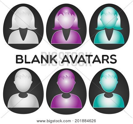 A set of blank male and female avatars. AI and Jpg file