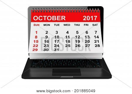 2017 year calendar. October calendar over laptop screen on a white background. 3d rendering