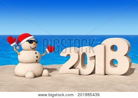 Sandy Christmas Snowman at Sunny Beach with 2018 New Year Sign extreme closeup. 3d Rendering