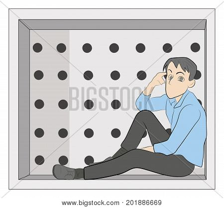 A man sits in a box and reflects. Concept of personal space. vector illustration.