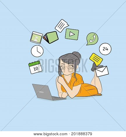 Woman with laptop, with icons floating around his head. vector illustration