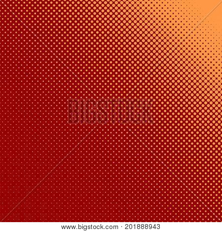 Abstract geometric halftone dot pattern background - vector design from orange color circles in varying sizes on maroon background