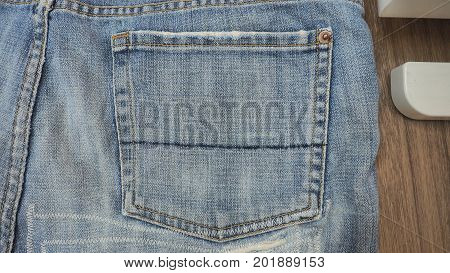 Jeans shorts close up at bag has free space for your background.
