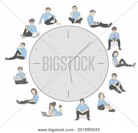 Young people are sitting around the clock. The concept of working time. Vector illustration for graphic and design.