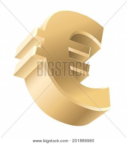 Shiny Golden euro currency sign isolated on white background. Vector illustration.