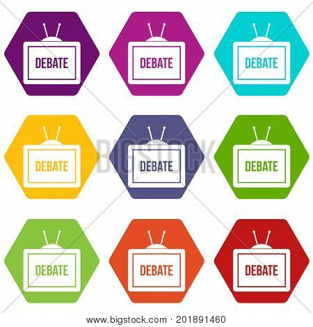 TV with the Debate inscription on the screen icon set many color hexahedron isolated on white vector illustration