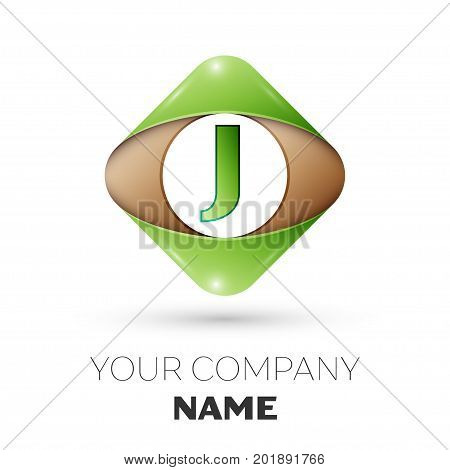 Realistic Letter J vector logo symbol in the colorful rhombus on white background. Vector template for your design