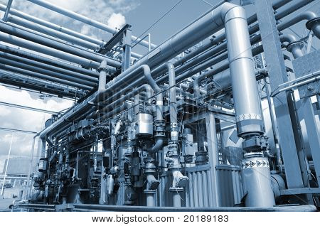 oil refinery, oil fuel station in metallic blue toning