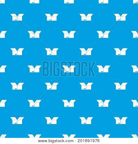 Opened cardboard box pattern repeat seamless in blue color for any design. Vector geometric illustration