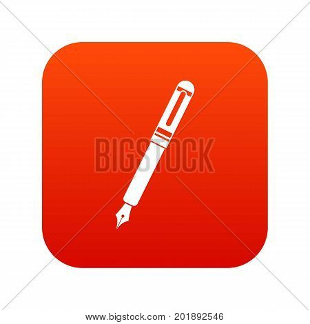 Black fountain pen icon digital red for any design isolated on white vector illustration