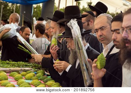 JERUSALEM, ISRAEL - OKTOBER 16, 2016: Traditional market before the holiday of Sukkot. Buyers - religious Jews crowded near the counter with ritual fruits - etrog-citrus and myrtle-adas