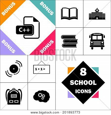 C plus plus Icon and Set Perfect Back to School pictogram. Contains such Icons as Schoolbook, School Building, School Bus, Textbooks, Bell, Blackboard, Student Backpack, Brain Learn
