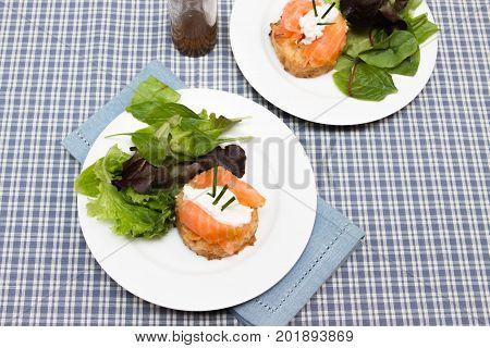 Potato rosti with smoked salmon and cream cheese