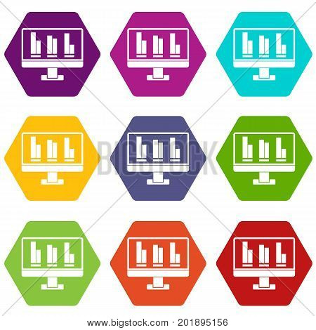 Business graph at computer screen icon set many color hexahedron isolated on white vector illustration