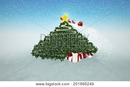 Snowy Christmas Background. Gifts under Christmas Tree and flying Santa at the background