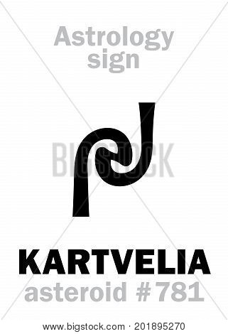 Astrology Alphabet: KARTVELIA, asteroid #781. Hieroglyphics character sign (single symbol).
