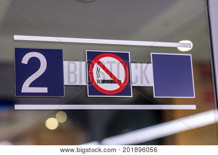 No Smoking Area Symbol In The Second Class In A Train