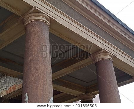 Column. Antique column. Fragment of a temple with columns. Antique architecture. Architectural background. Column.