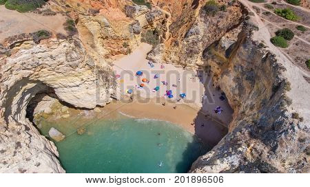 View from the sky of the beach: Joao de Arens Portimao.