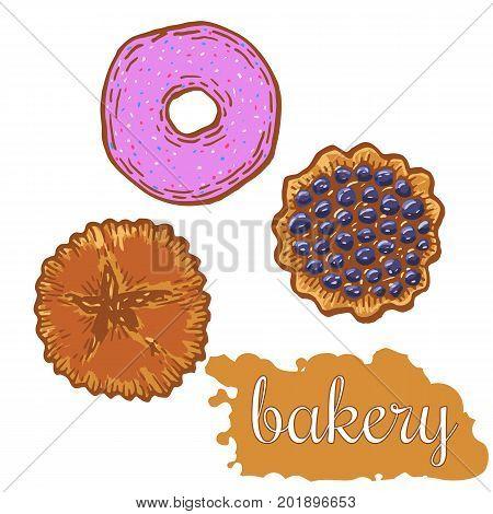 Hand drawn decorative fresh bakery template . Vector Illustration.