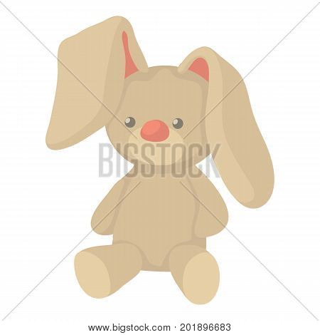 Plush toy bunny icon. Cartoon illustration of plush toy bunny vector icon for web