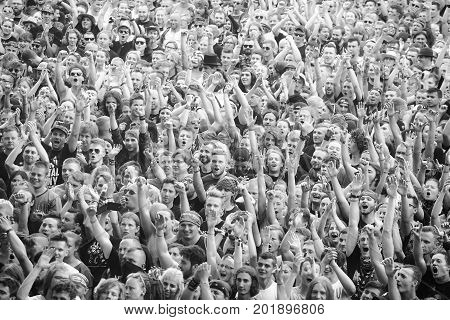 Kostrzyn, Poland - August 05, 2017: Applauding Crowd At A Concert During The 23Rd Woodstock Festival