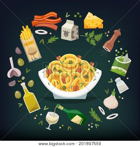 Long flat fettuccine pasta dish with bacon peas carbonara sauce and cheese. Famous dish of italian cuisine. Throw ingredients in the air and get a perfect spaghetti dish on a plate.