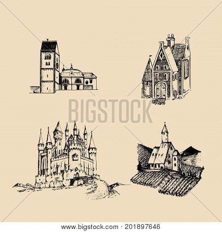 Vector medieval landscapes illustrations set. Hand drawn sketches of church, abbey, castle etc in fields and hills.