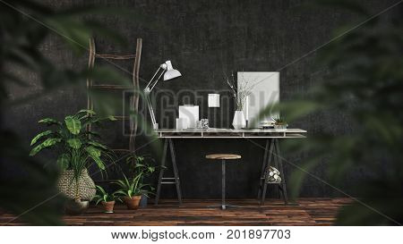 Modern dark office interior with trestle desk and stool on a wooden floor viewed through the leaves of green potted plants. 3d Rendering.