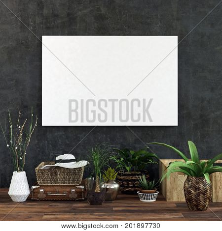Blank white picture hanging on dark wall above houseplants in room with wooden floor. 3d Rendering. 3d Rendering.