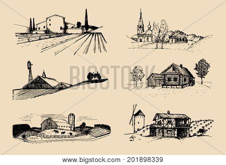 Vector farm landscapes illustrations set. Sketches of villa, agricultural homestead in fields and hills. Hand drawn russian countryside.