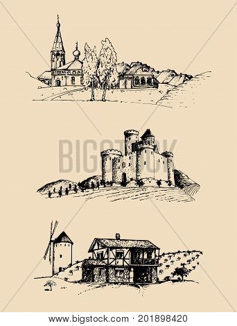 Vector farm landscapes illustrations set. Sketches of castle, agricultural homestead in fields and hills. Hand drawn russian countryside.