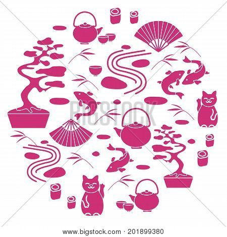 Cute Vector Illustration With Bonsai Tree, Teapot With Two Cups, Minimal Rock Garden, Japanese Lucky