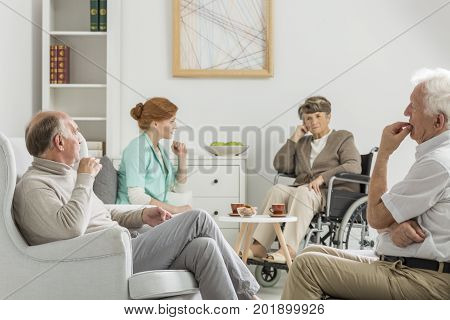 Elders And Nurse Meeting