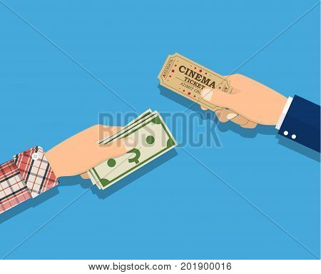 Buy tickets. People holding ticket, money in hands. Sale purchase transaction. Vector illustration in flat style