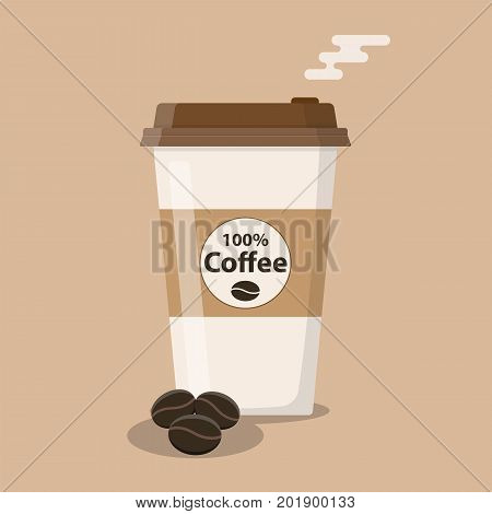 disposable coffee cup icon with coffee beans. Vector illustration in flat style