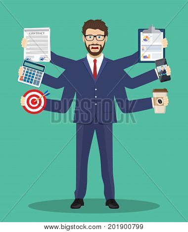 Busy businessmen character. Multitasking hard work. Vector illustration in flat style